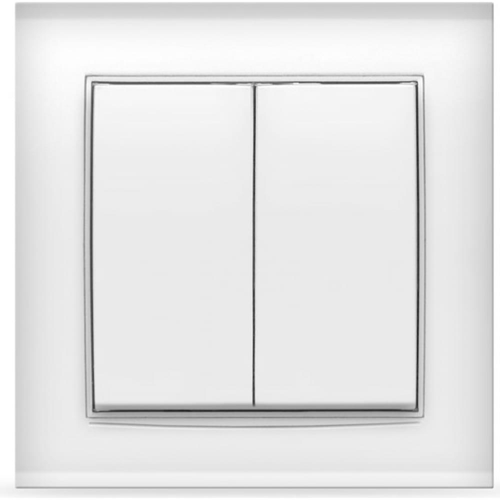 Купить Двухклавишный выключатель, белый universal бриллиант 7947403