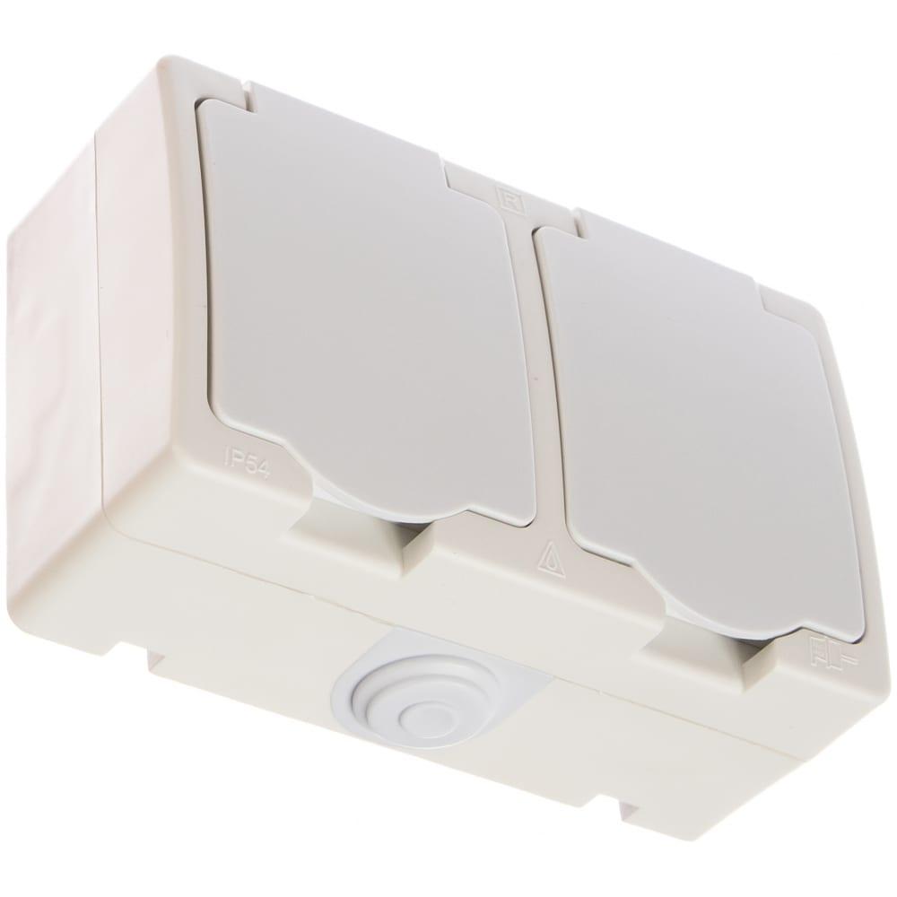 Розетка двойная с/з защитными шторками и крышкой ip-54 белая universal аллегро 5562951