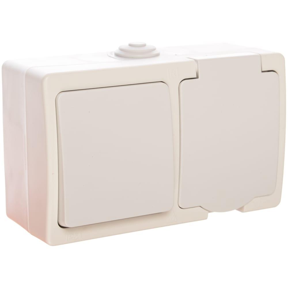 Блок: одноклавишный выключатель + розетка с заземлением, с защитными шторками, с крышкой ip-54, белый universal аллегро 5562968
