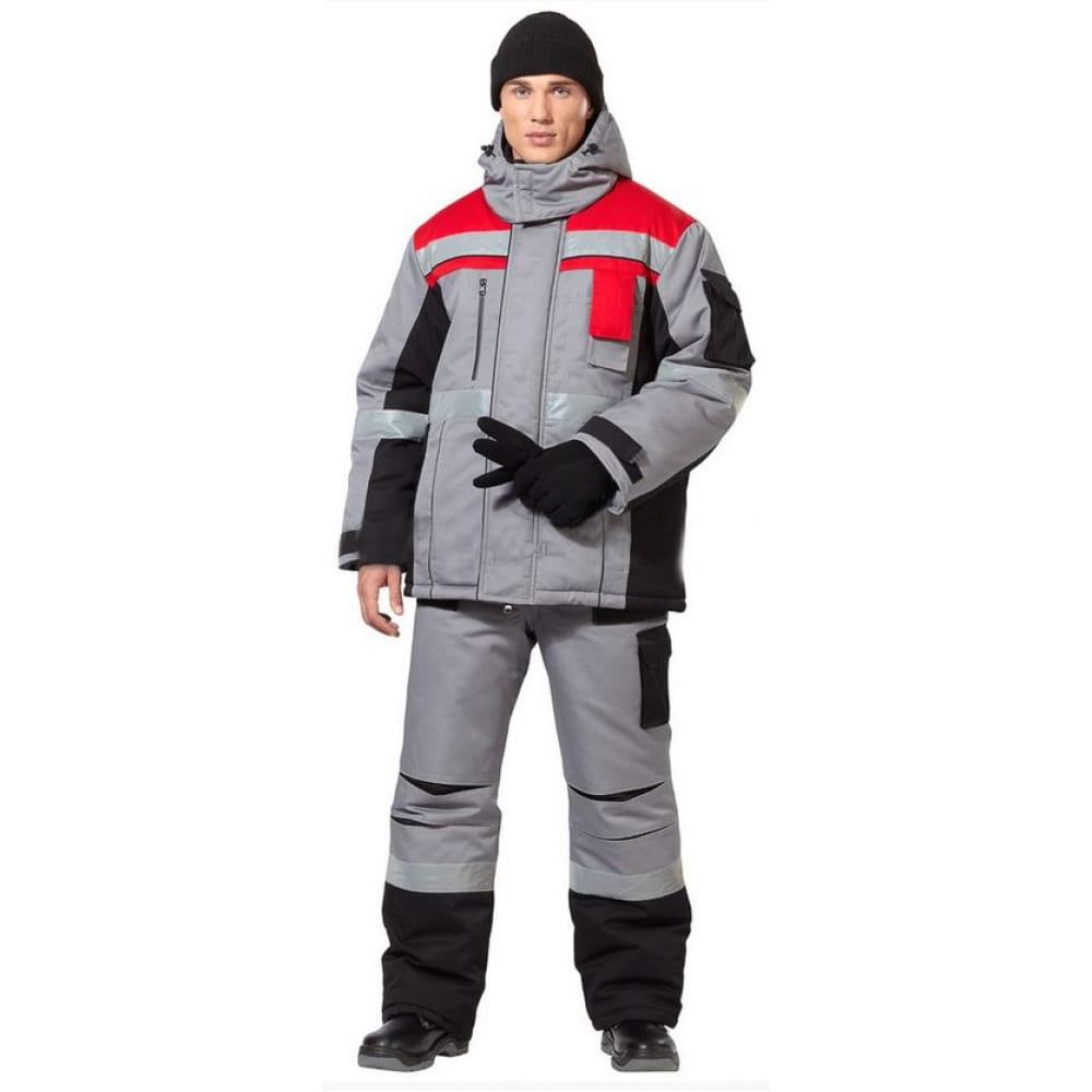 Мужской утепленный костюм авангард-спецодежда виват р.104-108, рост 170-176 63832Рабочие костюмы<br>Вес: 3.8 кг;<br>Тип: мужской с полукомбинезоном ;<br>Цвет: серый/черный/красный ;<br>Max температура: -25 °C;<br>Ткань: смесовая ;<br>Плотность ткани: 240 г/кв.м;<br>Размер: 52-54 ;<br>Рост: 170-176 см;<br>Пропитка: водоотталкивающая ;<br>Капюшон: есть ;<br>Тип застежки: молния ;<br>ГОСТ\ТУ: ТУ 8570-001-72179571-2011 ;<br>Единиц в упаковке: 1 шт.;<br>Защитные свойства: от пониженных температур воздуха, от общих загрязнений, от истирания ;<br>Утеплитель: шелтер, синтепон ;<br>Международный размер: XL (52-54) ;<br>Светоотражающие элементы: есть ;<br>Сигнальный: нет ;