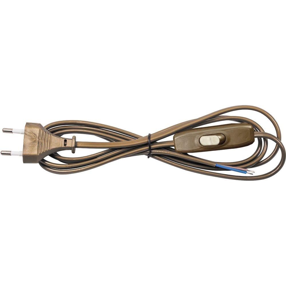 Проходной ползунковый выключатель с проводом и евровилкой 2.5а, 1.9м, золотистый rev 24516 2