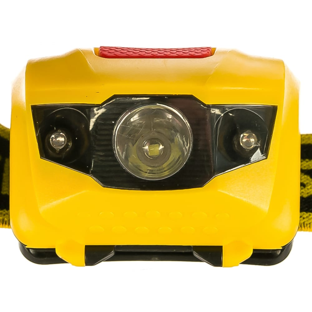 Налобный светодиодный фонарь 1вт, 80лм +2led, 4 режима, 3ааа stayer master 56568