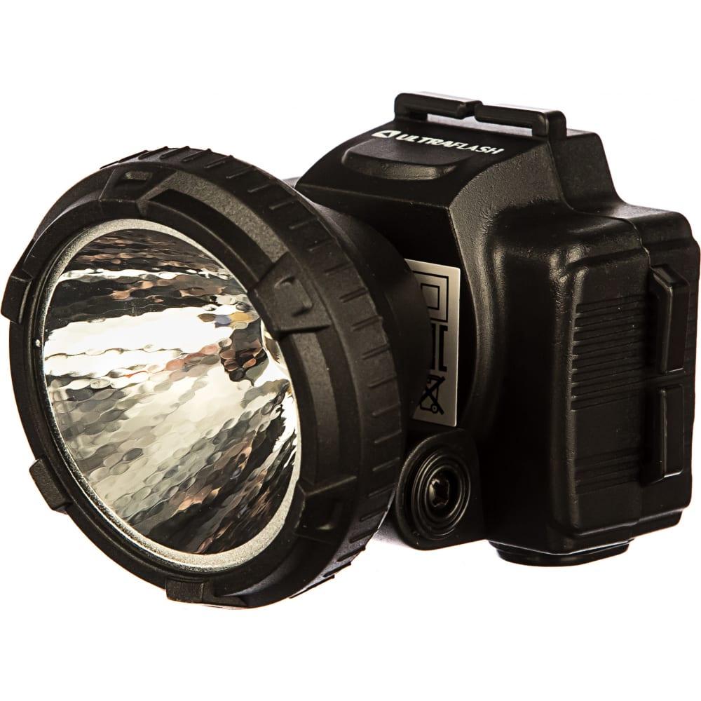 Налобный аккумуляторный фонарь 220в, черный, 0.5вт led, 2 режима ultraflash led5366 11649