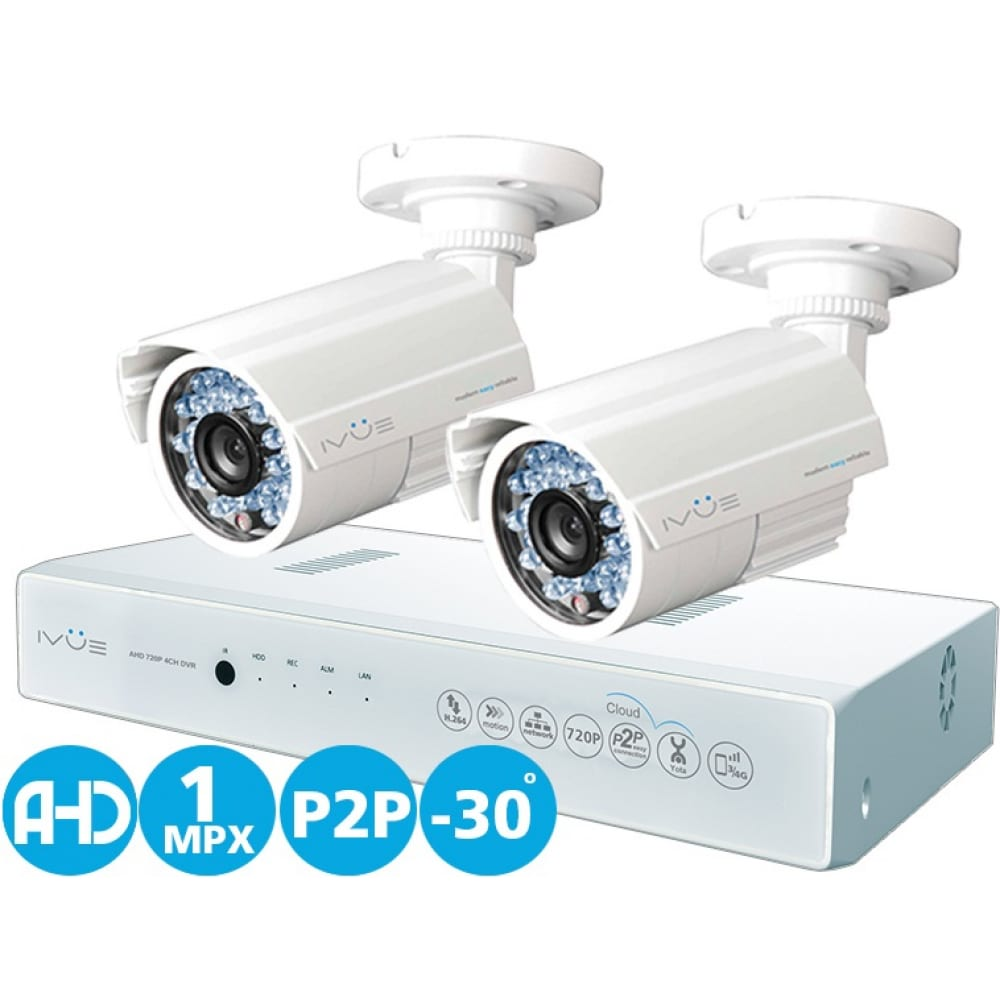 Комплект видеонаблюдения ahd 1mpx дача 4+2 ivue