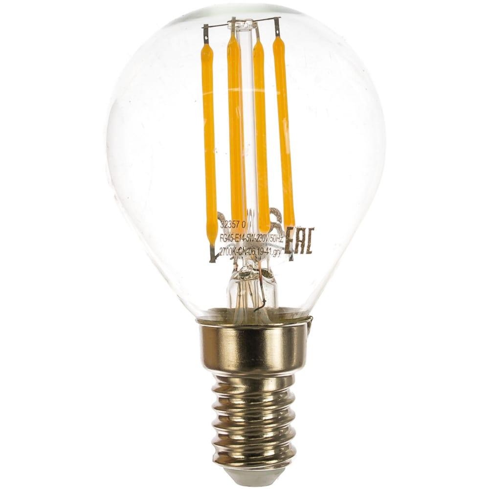 Светодиодная лампа led g45 e14 5w 450лм, 2700k, теплый свет rev premium filament 32357 0