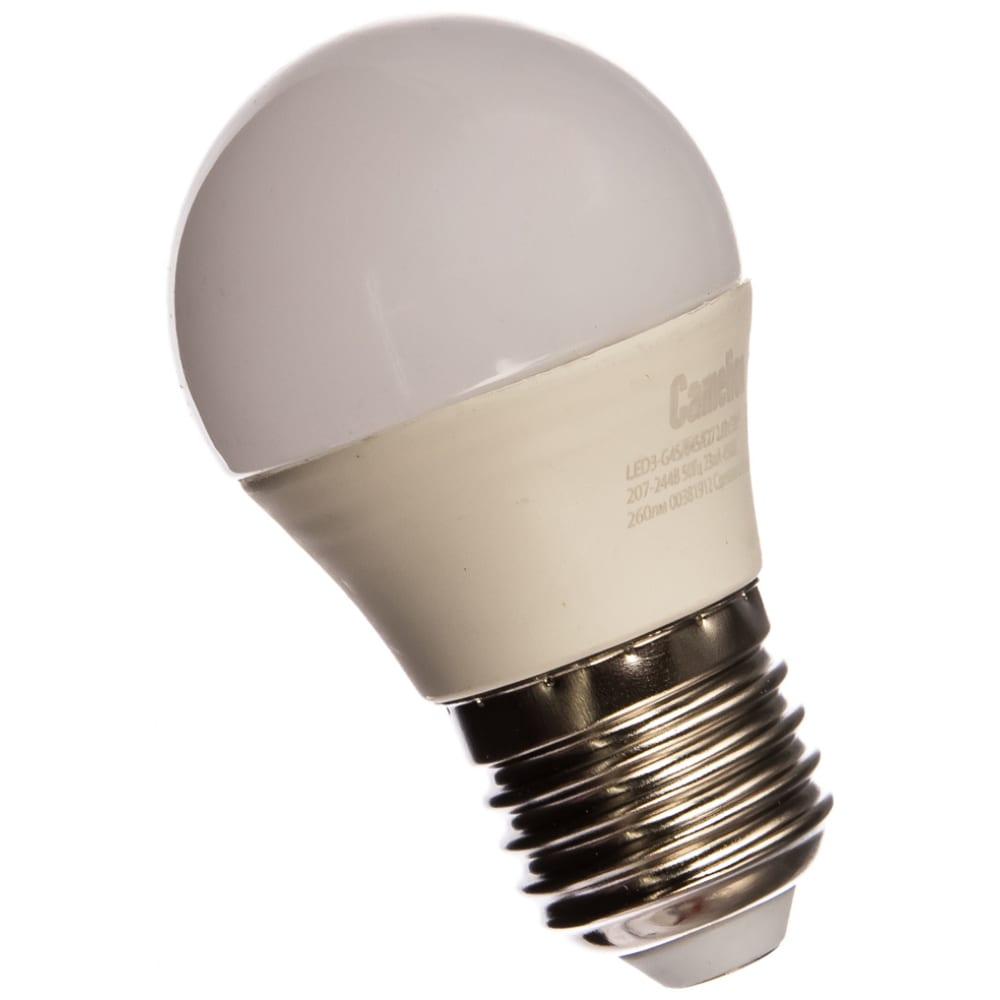 Светодиодная лампа 3вт 220в camelion led3-g45/845/e27 11376