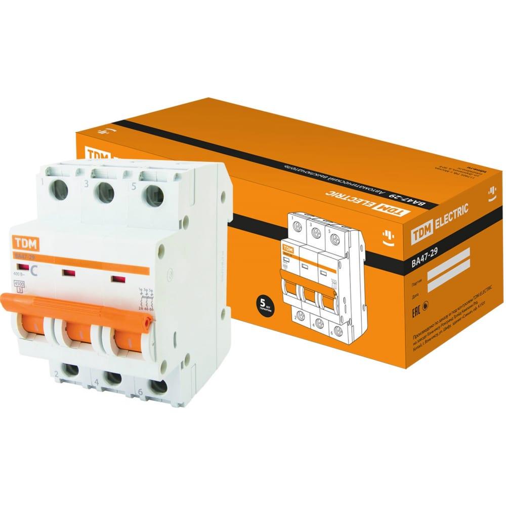Автоматический выключатель tdm ва47-29 3р 20а 4.5ка с sq0206-0110