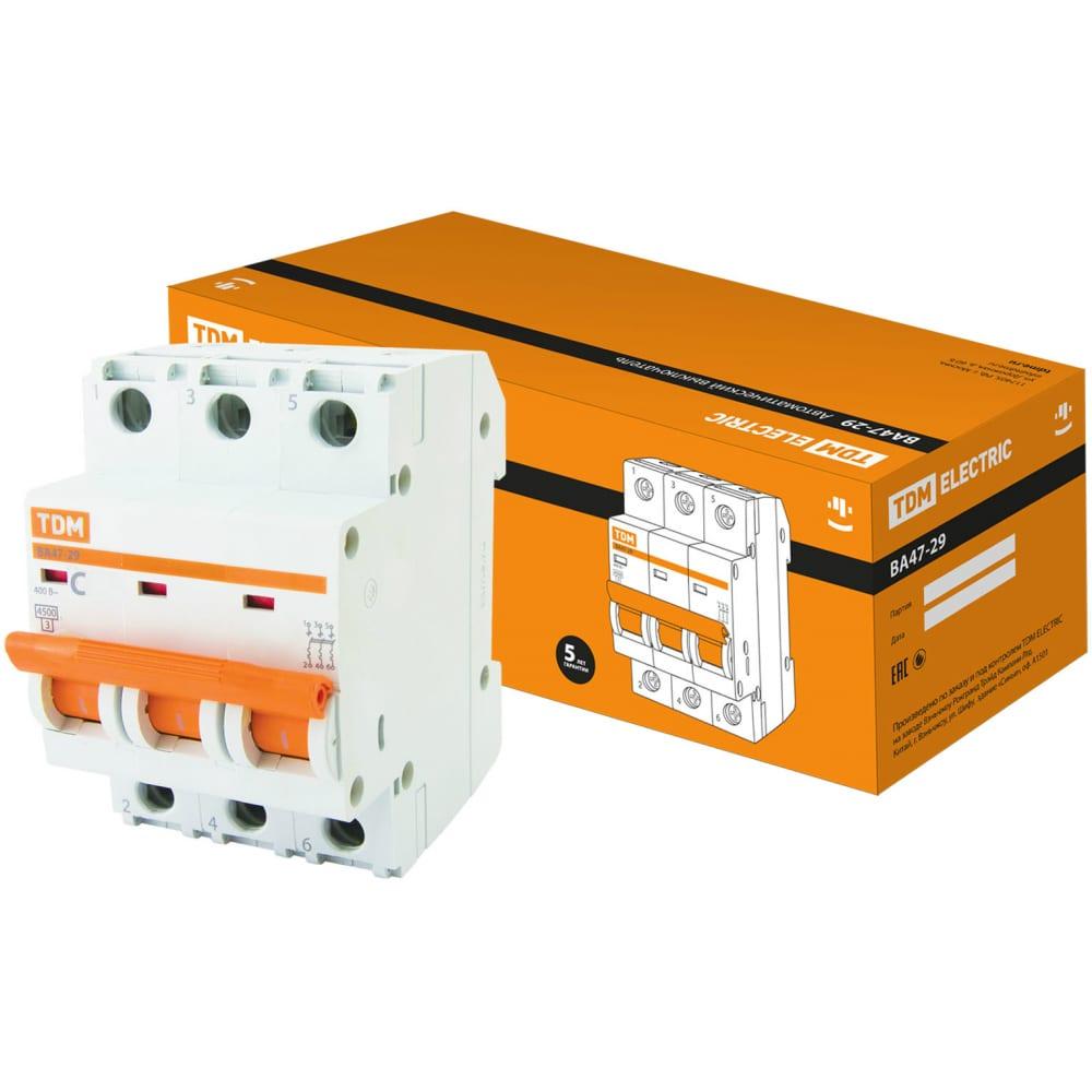 Автоматический выключатель tdm ва47-29 3р 4а 4.5ка d sq0206-0167