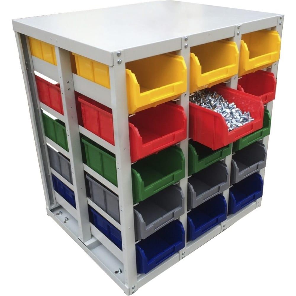 Купить Стационарный односторонний стеллаж с направляющими 30 ячеек, желтый/красный/зеленый/серый/синий стелла v3