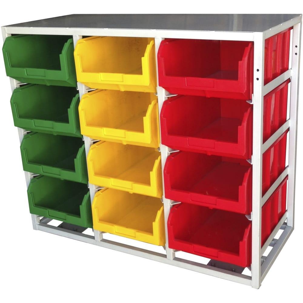 Купить Стационарный односторонний стеллаж с направляющими 12 ячеек, красный/желтый/зеленый стелла v4