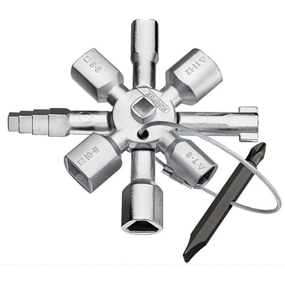 Ключ для электрошкафов с битой и переходником knipex kn-001101