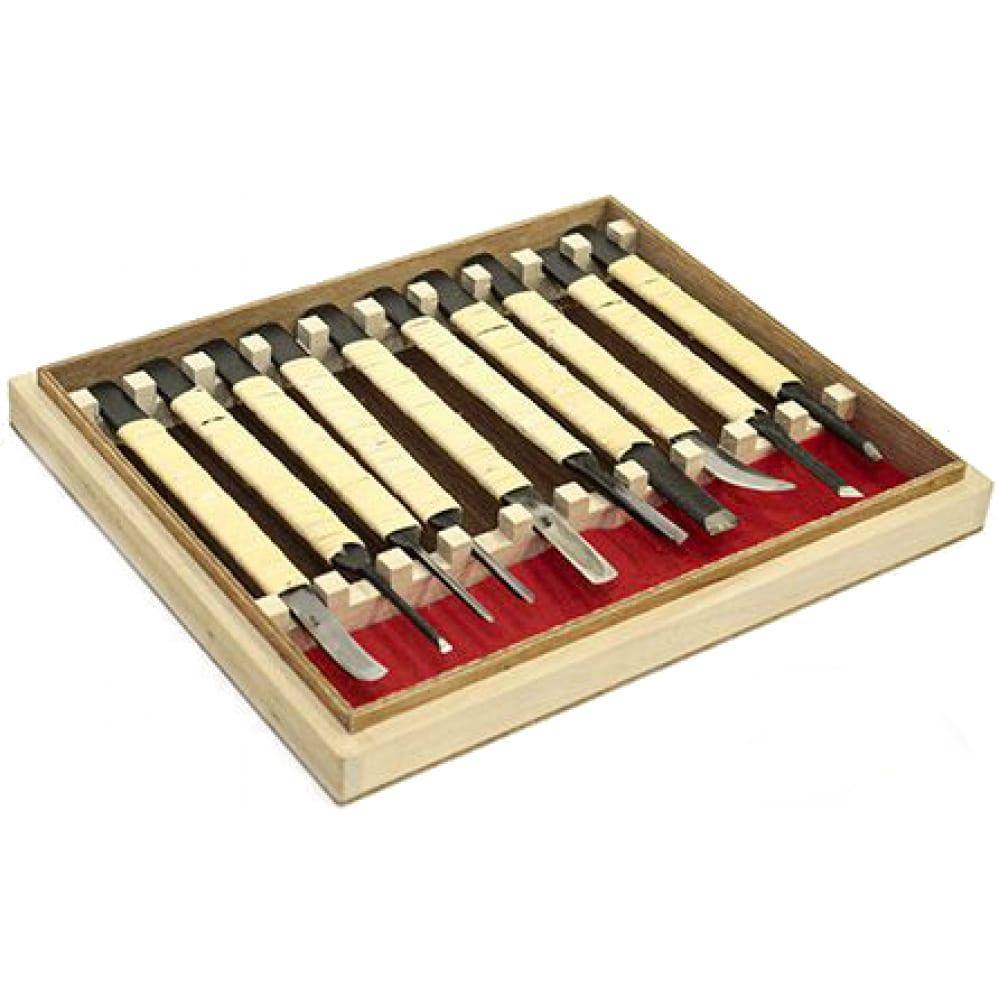 Набор японских резцов 10шт, ротанговая обмотка, деревянный ящик kawakioy-nori mt #nori-10