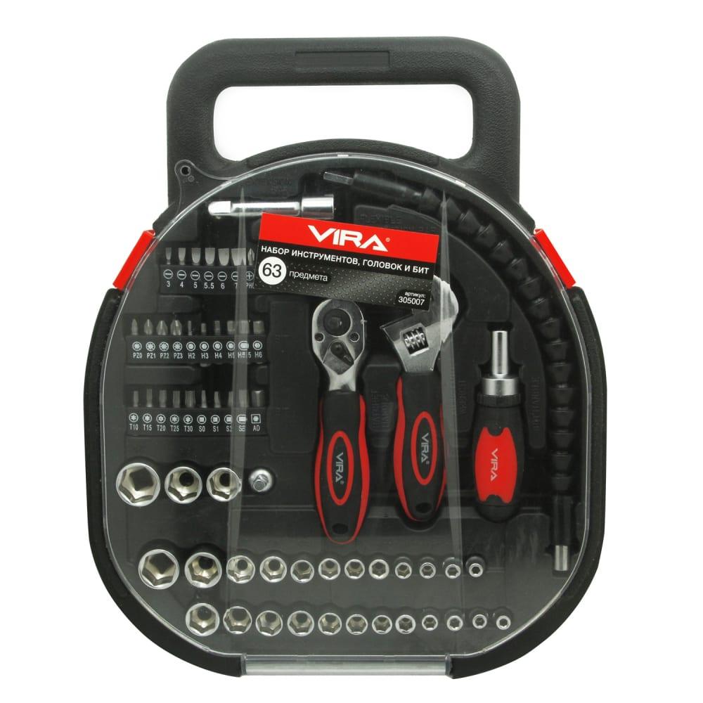 Набор инструментов, головок и бит, 64шт vira 305007