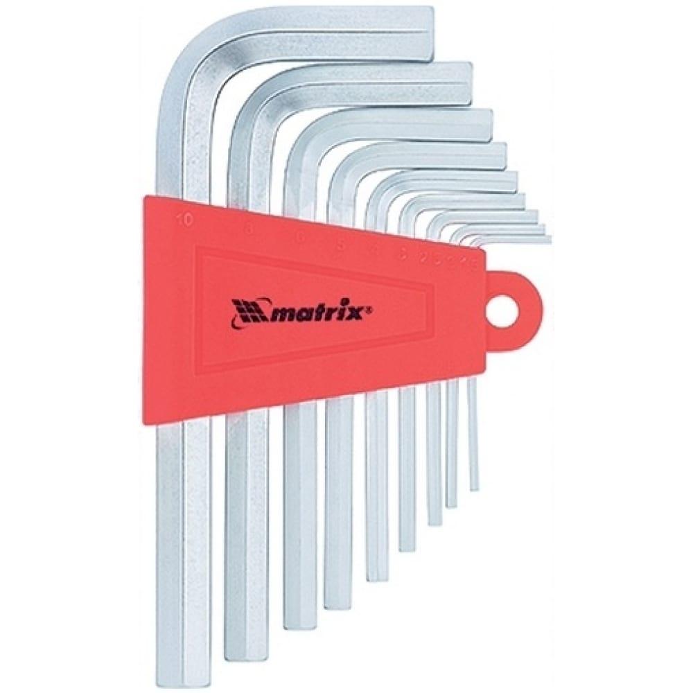 Купить Набор коротких имбусовых ключей hex, 1.5-10мм, crv, 9шт, сатин matrix 12303