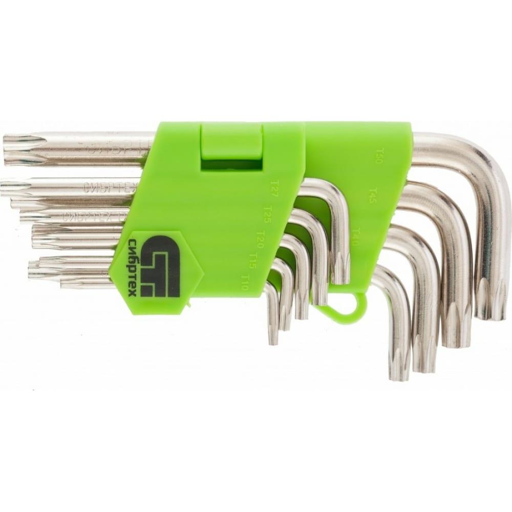 Набор коротких имбусовых ключей tamper-torx, 9 шт: tt t10-t50, 45х, никель сибртех 12321