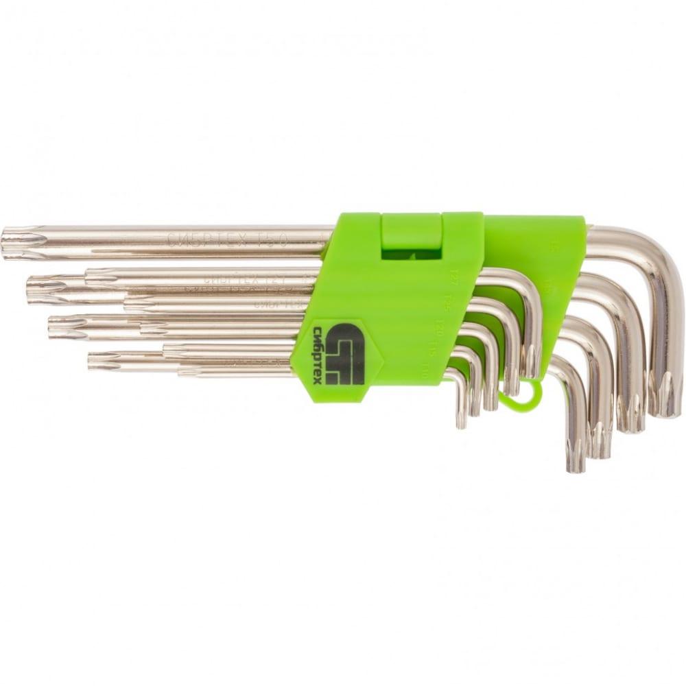 Набор удлиненных имбусовых ключей tamper-torx, 9 шт: tt t10-t50, 45х, никель сибртех 12322