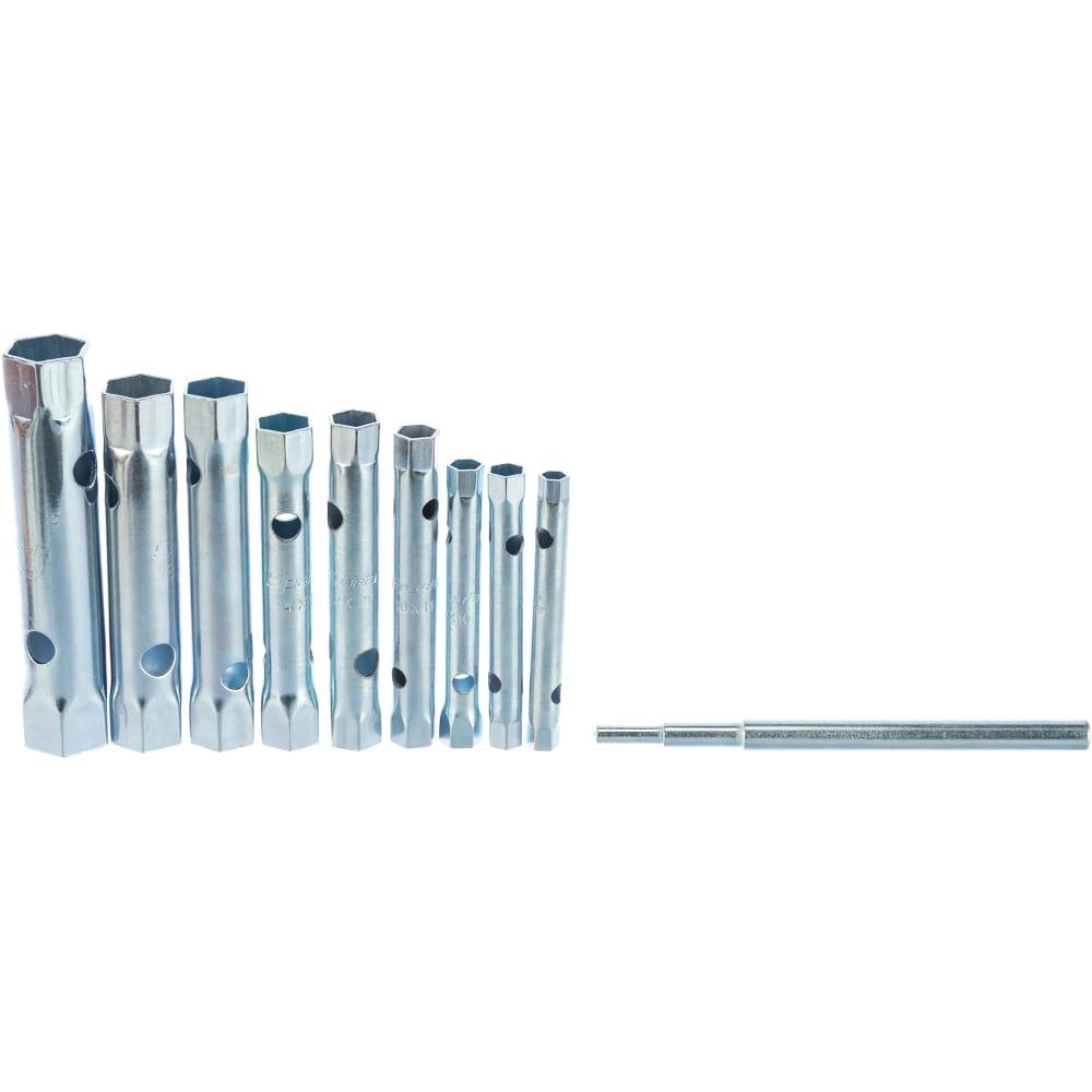 Набор торцевых ключей-трубок sparta 6 - 22 мм, вороток, оцинкованные, 9 шт 137525