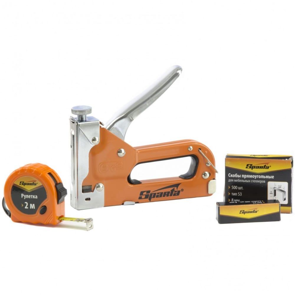 Купить Набор: степлер мебельный регулируемый, скобы 500 шт, рулетка 2м, тип скобы 53, 6-14 мм sparta 42003