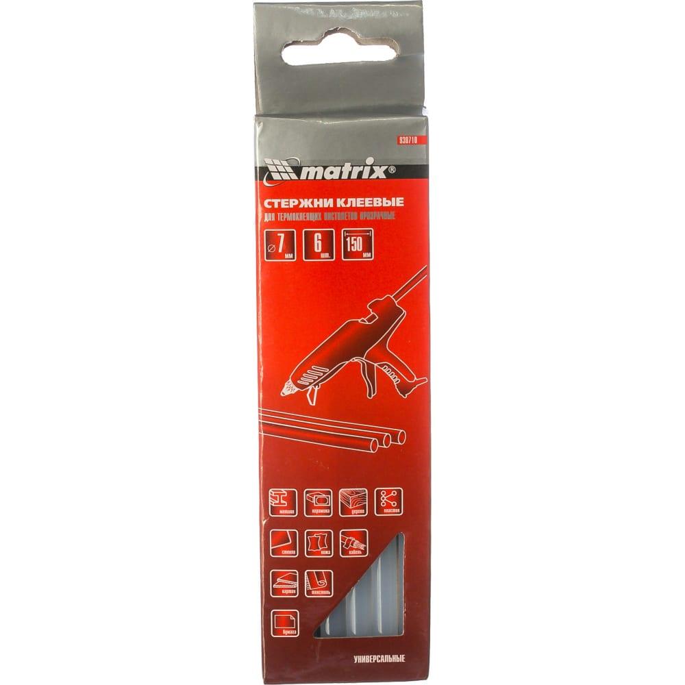 Купить Стержни клеевые прозрачные (7 мм; 150 мм; 6 шт.) matrix 930710
