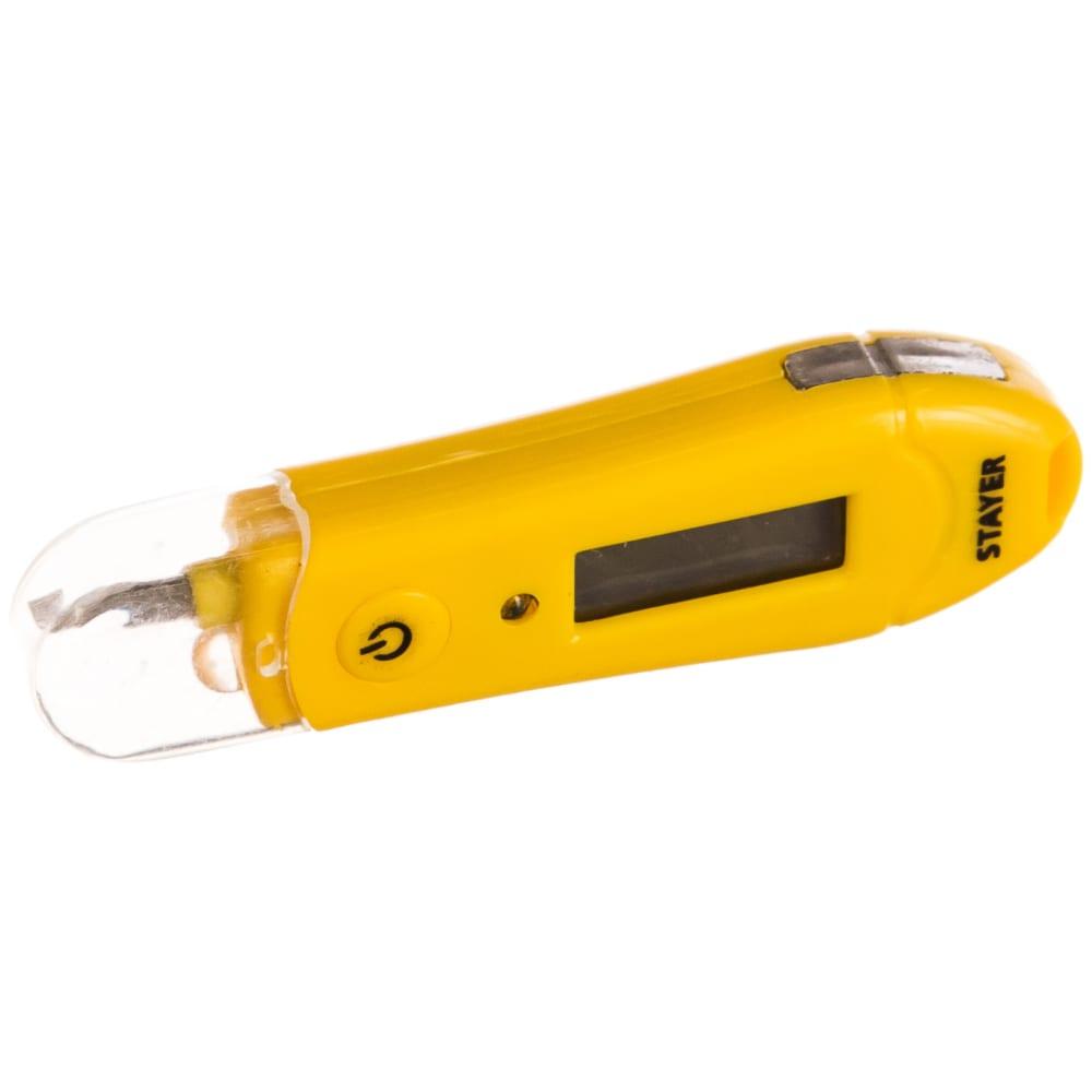 Цифровой тестер напряжения со световым индикатором 12-220в, 70мм stayer master 45282