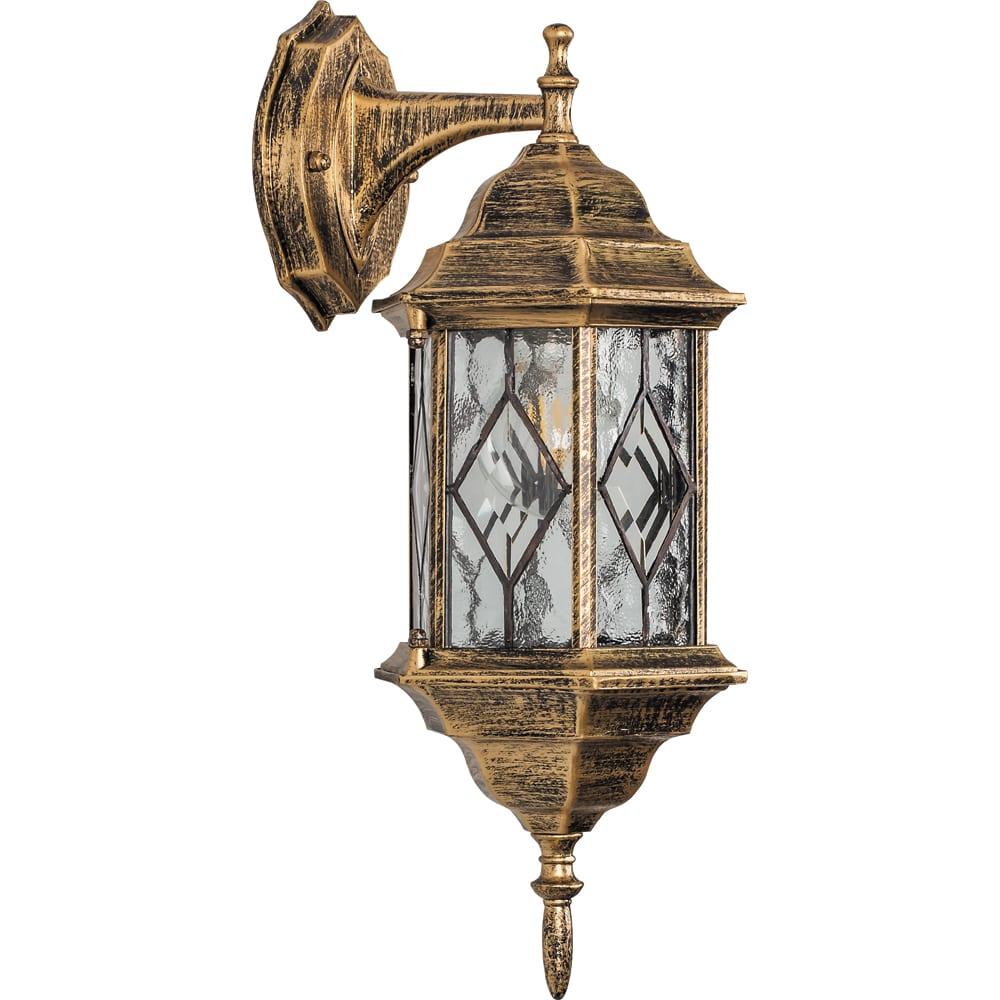 Купить Садово-парковый светильник, шестигранный на стену вниз 60w e27 230v, черное золото feron pl122 11344