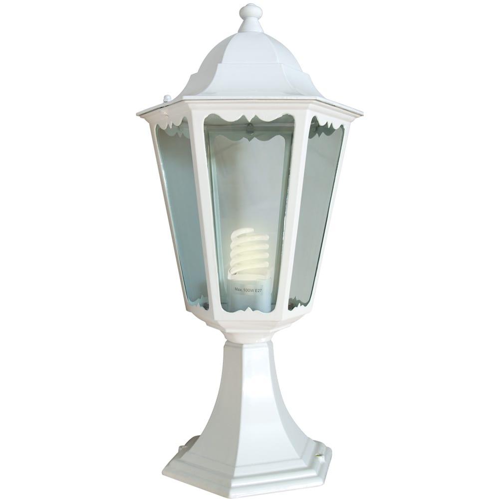 Купить Садово-парковый светильник, шестигранный на постамент 60w e27 230v, белый feron 6104 11057