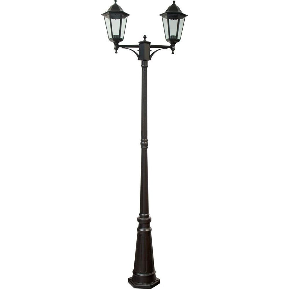 Купить Садово-парковый светильник, столб 2*100w e27 230v, черный feron 6214 11078