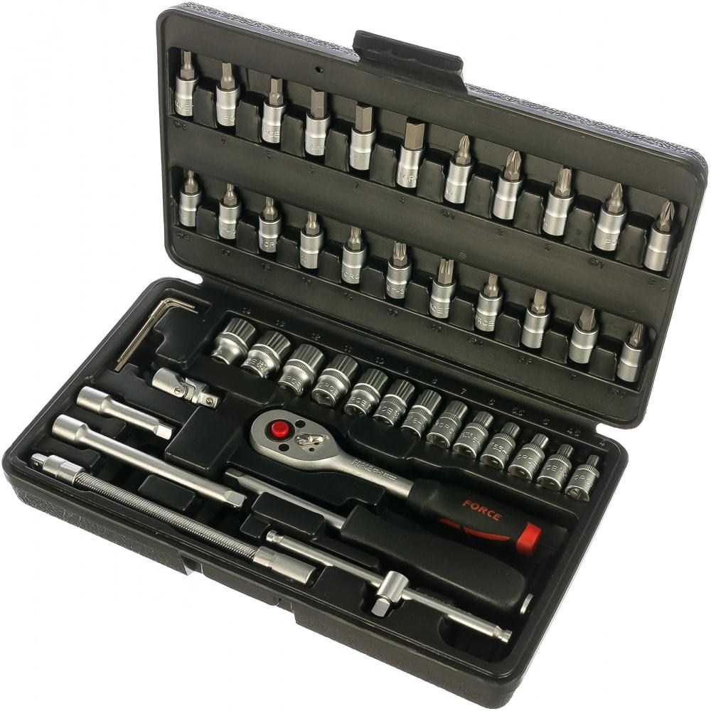 Набор инструмента force 6 граней, super lock, 1/4, 46 предметов 2462-7