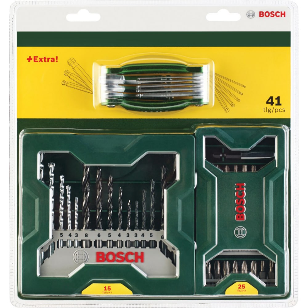 Набор x-line из 15 сверел, 25 насадок-бит, складных ключей-шестигранников bosch 2607017333