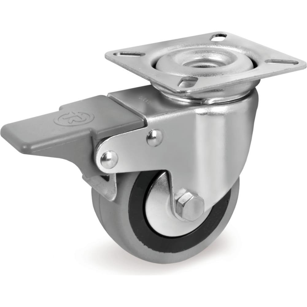 Колесо с вращающейся опорой, пластиной крепления и передним тормозом (100 мм; 55 кг) tellure rota 378104  - купить со скидкой