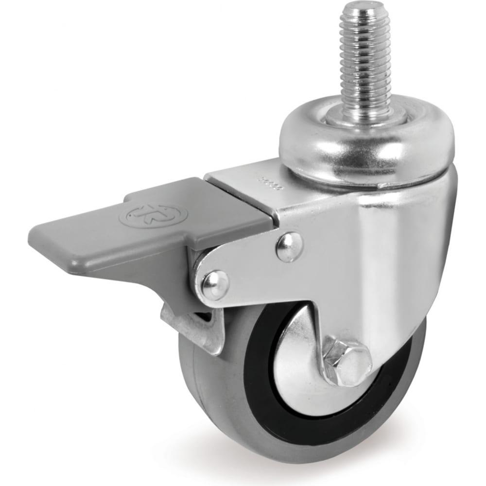 Купить Колесо с вращающейся опорой, стержнем и передним тормозом (80 мм; 55 кг) tellure rota 379103