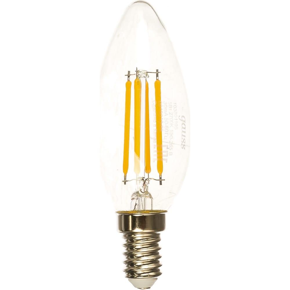 Лампа led candle e14 5w 2700к gauss filament 103801105