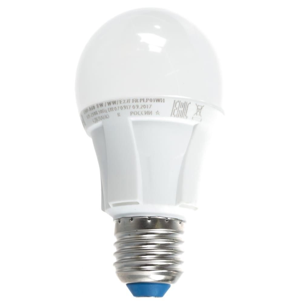 Светодиодная лампа uniel led-a60 8w/ww/e27/fr plp01wh ul-00001522
