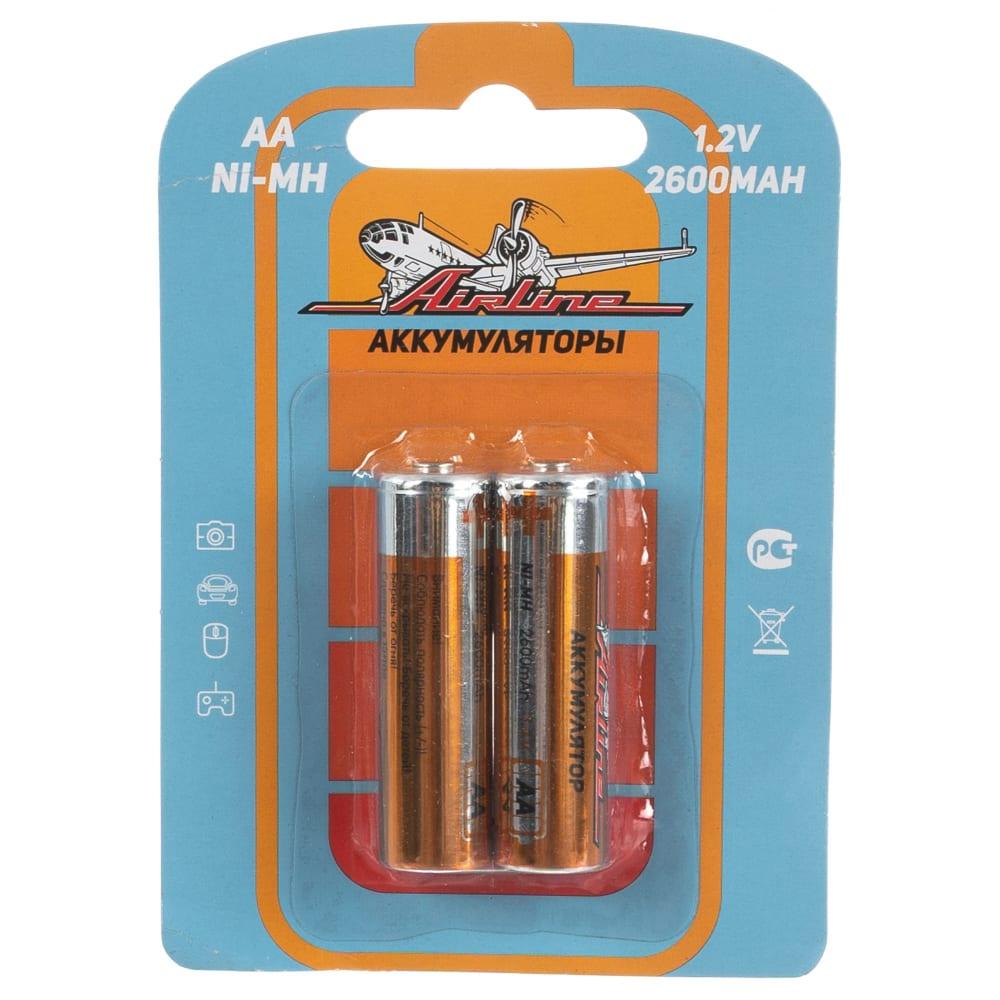 Батарейки aa hr6 аккумулятор ni-mh 2600mah 2шт airline aa-26-02