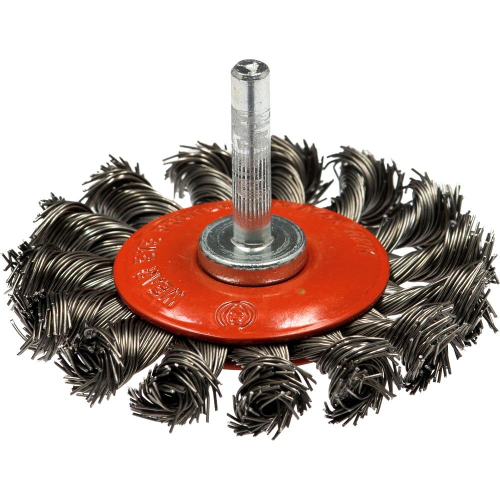 Купить Щетка дисковая со жгутовой стальной проволокой эксперт 487 (100 мм; хвостовик 6 мм) профоснастка 20710002