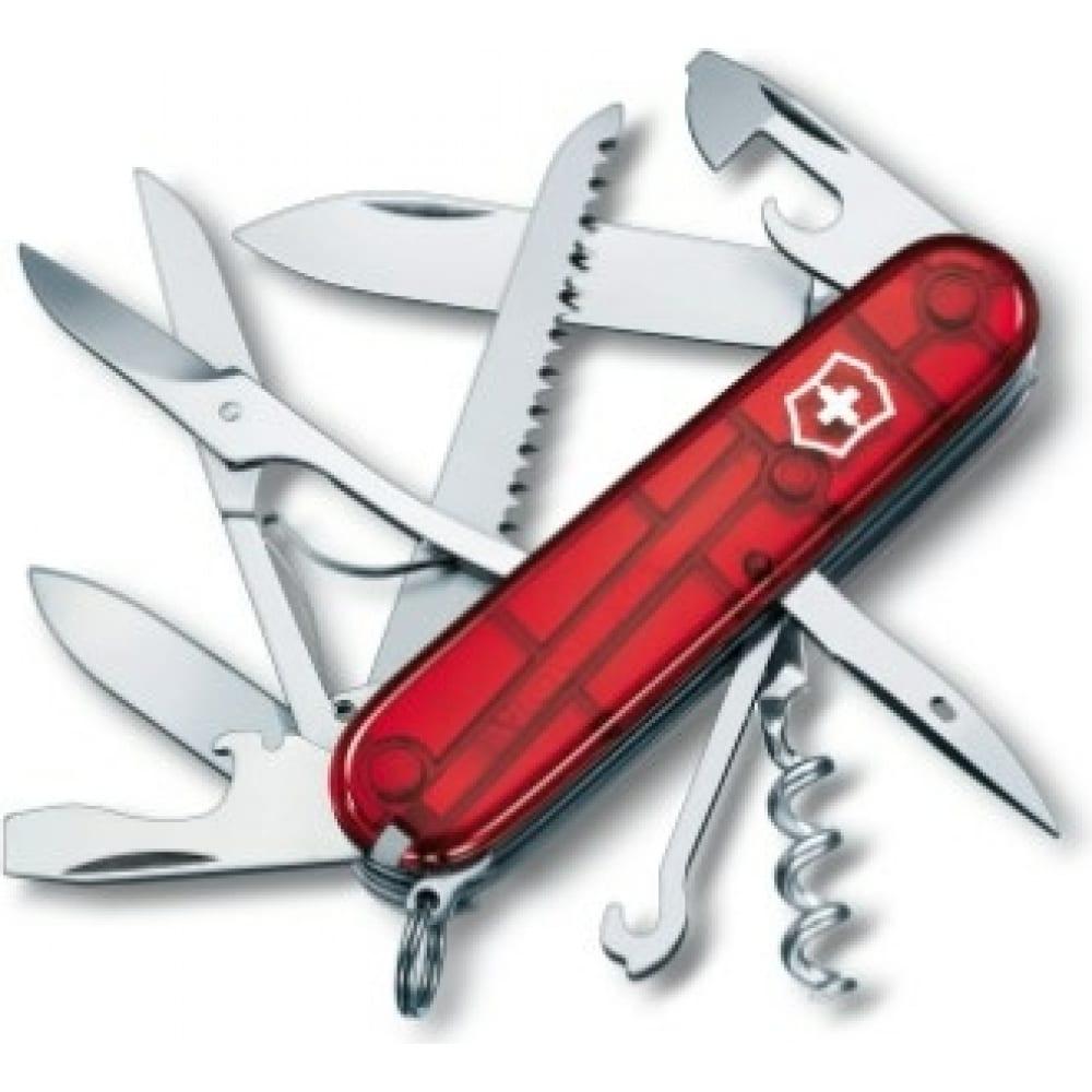 Купить Швейцарский нож victorinox huntsman 1.3713.t полупрозрачный красный
