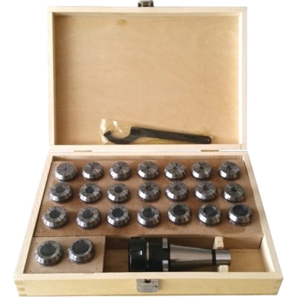 Купить Патрон цанговый nt40er40 хвостовик конус 7:24 din2080 с набором цанг 23 шт., 4-26 мм griff b221424