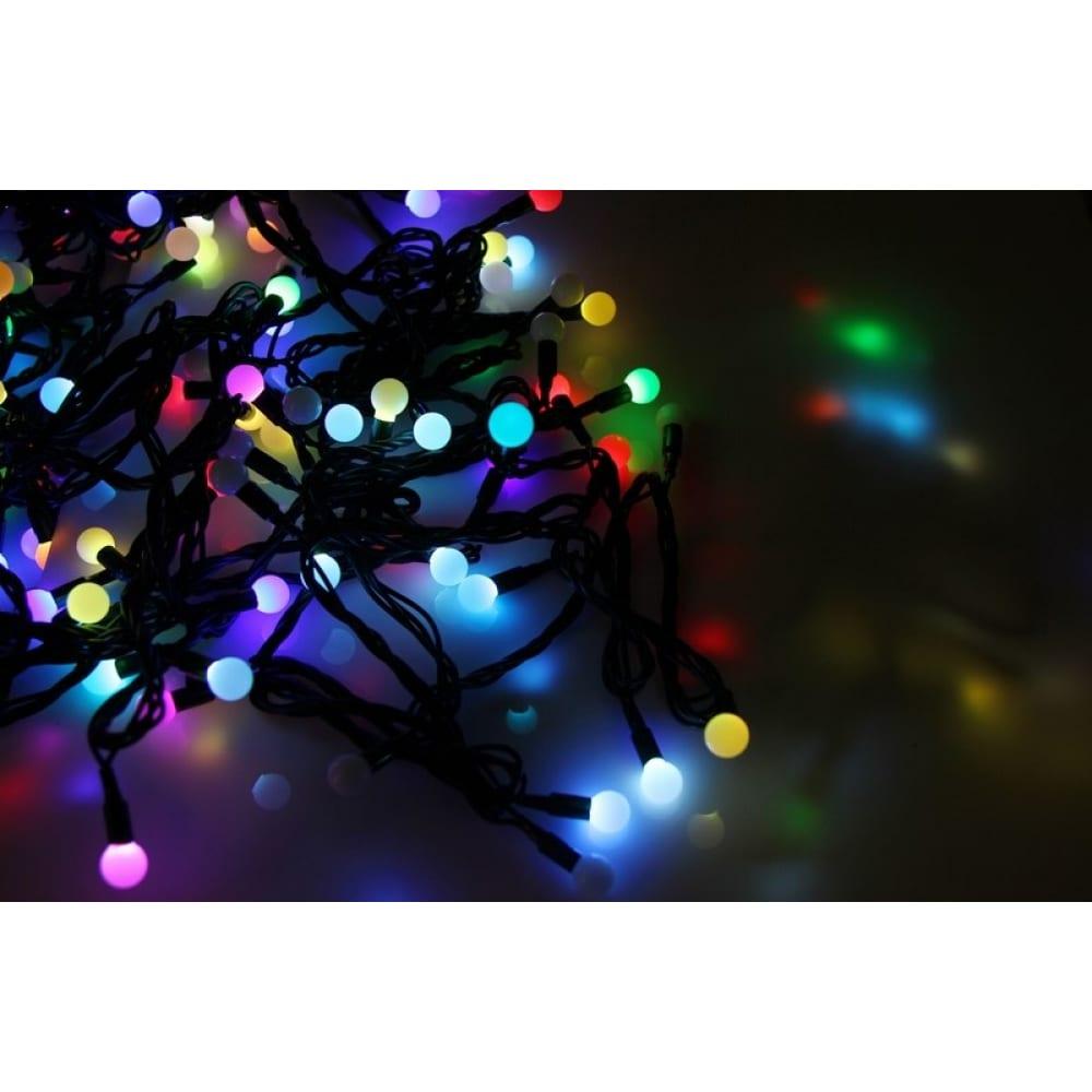 Купить Гирлянда neon-night мультишарики d=13мм, 20м, черный пвх, 200led rgb 303-509-1