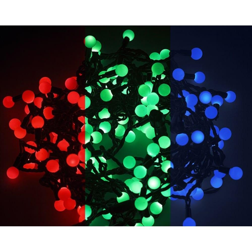 Купить Гирлянда neon-night мультишарики d=23мм, 10м, черный пвх, 80led rgb 303-519
