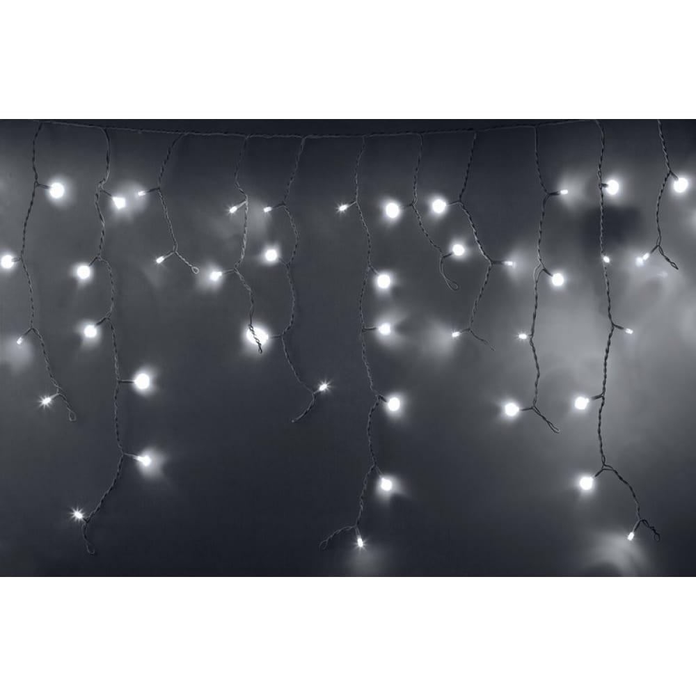 Гирлянда neon-night айсикл бахрома, 2.4х0.6м, белый пвх, мерцающий flashing, 88 led белые 255-036
