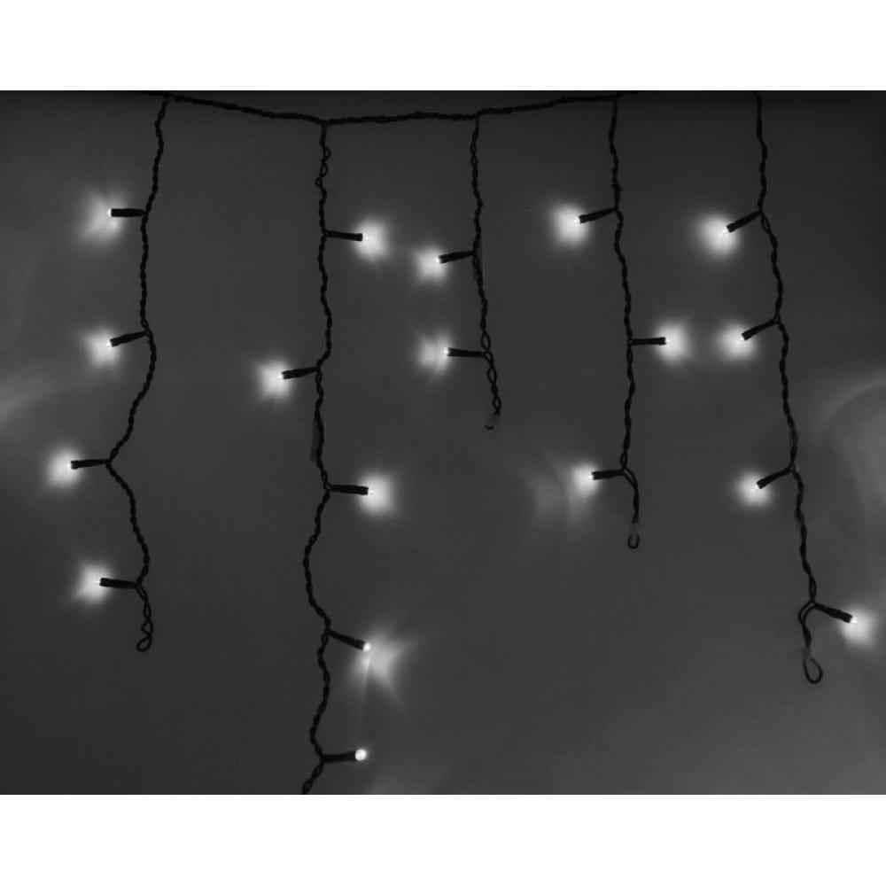 Гирлянда neon-night айсикл бахрома, 4.8х0.6м, черный пвх, 176 led белые 255-135  - купить со скидкой