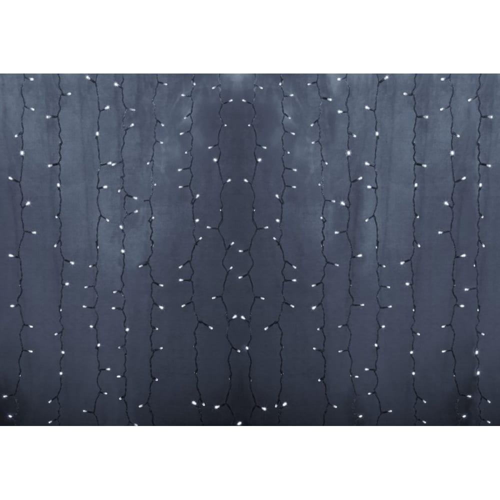 Купить Гирлянда neon-night дождь занавес 2х1.5м, прозрачный пвх, 192 led белые, 12 led/нить, 16 нитей 235-305-6