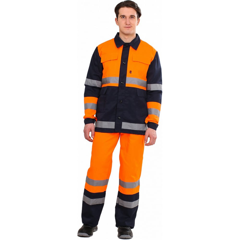 Комбинированный костюм факел дорожник оранжевый/темно-синий, р. 48-50, 182-188 см 50510000.006Рабочие костюмы<br>Тип: мужской с полукомбинезоном ;<br>Цвет: темно-синий/оранжевый ;<br>Ткань: смесовая ;<br>Плотность ткани: 210 г/кв.м;<br>Размер: 48-50 (рост 182-188) ;<br>Рост: 182-188 см;<br>Пропитка: водоотталкивающая ;<br>Световозвращающая полоса: есть ;<br>Капюшон: нет ;<br>Тип застежки: пуговицы ;<br>ГОСТ\ТУ: ГОСТ 27575-87 ;<br>Единиц в упаковке: 1 шт;<br>Защитные свойства: от истирания, от общих производственных загрязнений ;<br>Международный размер: M (48-50) ;<br>Сигнальный: нет ;