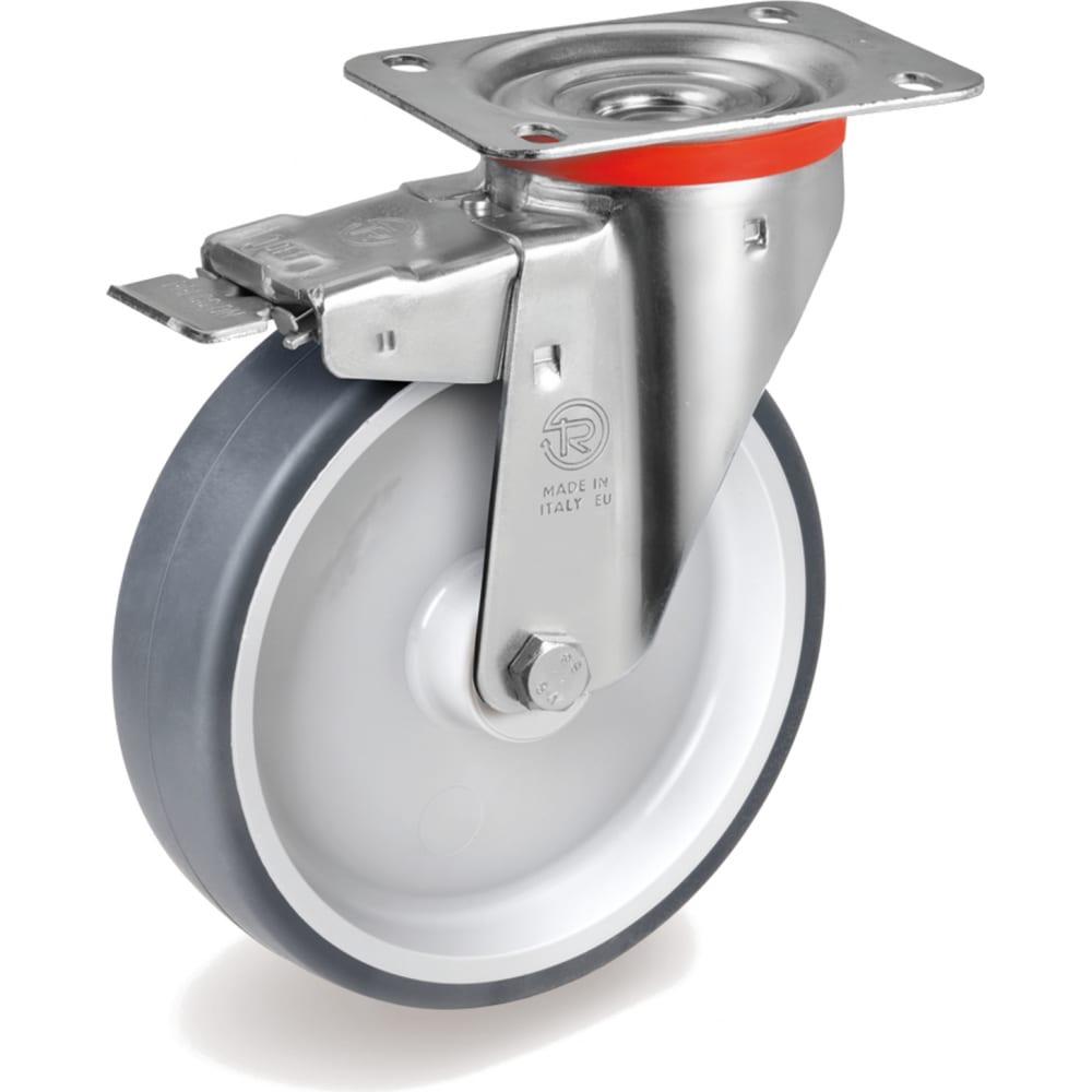 Купить Колесо с вращающейся опорой, пластиной крепления и передним тормозом (125 мм; 120 кг) tellure rota 716603