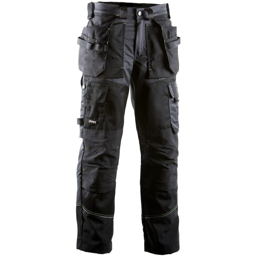 Брюки с навесными карманами dimex 676-52Рабочие брюки<br>Тип: мужские брюки ;<br>Цвет: черный/серый ;<br>Ткань: Т400 ;<br>Состав ткани: 46% хлопок, 16% полиэстер, 38% эластомультиэстер ;<br>Плотность ткани: 300 г/кв.м;<br>Размер: 52 ;<br>Световозвращающая полоса: есть ;<br>Тип застежки: молния ;<br>ГОСТ\ТУ: ТР ТС 019/2011 ;<br>Единиц в упаковке: 1 шт.;<br>Вес модели: 1 кг;<br>Защитные свойства: от общих загрязнений, от истирания ;<br>Международный размер: L (50-52) ;