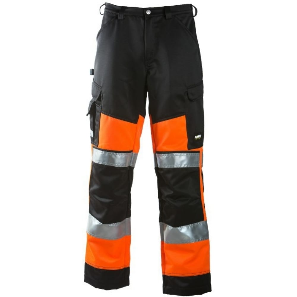 Рабочие брюки dimex 6020-54Рабочие брюки<br>Тип: мужские брюки ;<br>Ткань: смесовая ;<br>Состав ткани: полиэстер - 70%, хлопок - 30% ;<br>Плотность ткани: 245 г/кв.м;<br>Размер: 54 ;<br>Рост: 185-191 см;<br>Пропитка: водо- грязеотталкивающая ;<br>Световозвращающая полоса: есть ;<br>Тип застежки: молния ;<br>ГОСТ\ТУ: EN ISO 20471 Class 1 ;<br>Единиц в упаковке: 1 шт.;<br>Цвет: черный/оранжевый ;<br>Международный размер: XL (52-54) ;<br>Вес модели: 1 кг;<br>Защитные свойства: защита от общих производственных загрязнений, защита от истирания ;