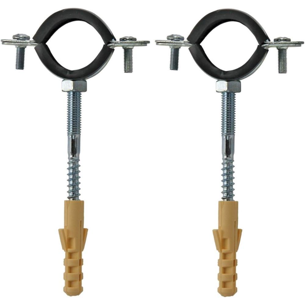 Купить Оцинкованный хомут с резиновым уплотнителем masterprof 1/2 20-23мм с шурупом и дюбелем 2шт mp ис.140789