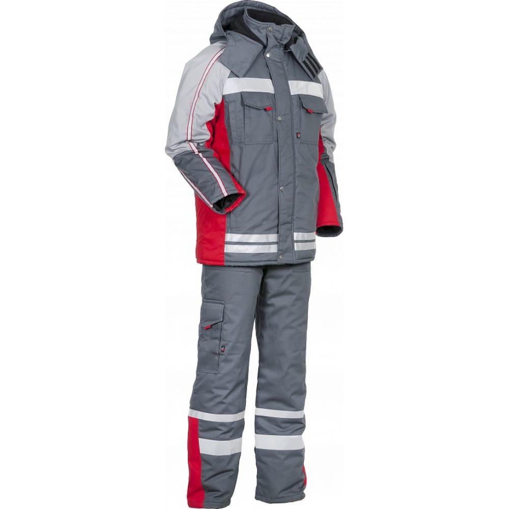 Зимний костюм факел темно-серый/красный, р.64-66, рост 182-188 54157000.002