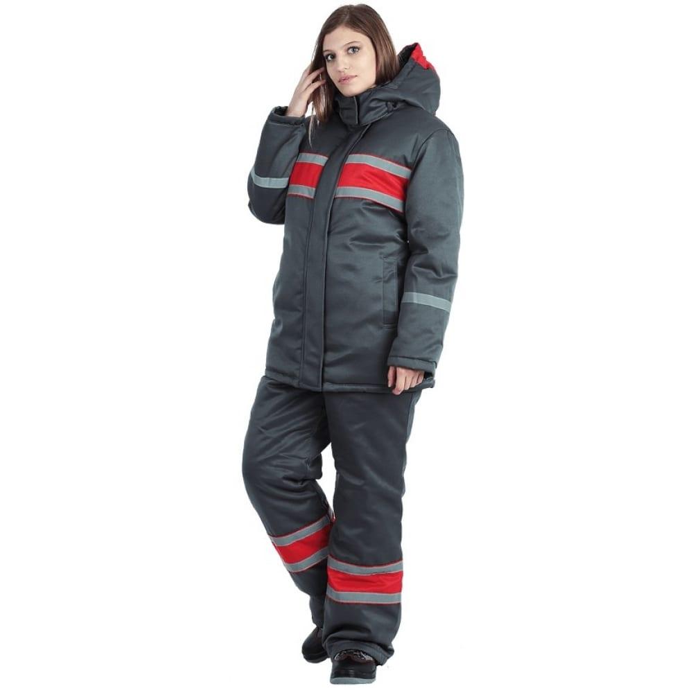 Женский утепленный костюм гк спецобъединение ангара серый-красный, размер 120-124, рост 170-176 кос 469/120/170Рабочие костюмы<br>Вес: 1.8 кг;<br>Тип: женский с полукомбинезоном ;<br>Цвет: серый-красный ;<br>Max температура: -18 °С;<br>Ткань: смесовая ;<br>Состав ткани: 20% - хлопок, 80% - полиэфир ;<br>Плотность ткани: 210 г/кв.м;<br>Размер: 60-62 ;<br>Рост: 170-176 см;<br>Пропитка: водоотталкивающая ;<br>Капюшон: есть ;<br>Тип застежки: молния ;<br>ГОСТ\ТУ: ГОСТ Р 12.4.236-2011 ;<br>Единиц в упаковке: 1 шт;<br>Защитные свойства: от пониженных температур ;<br>Утеплитель: синтотекс ;<br>Международный размер: 5XL (60-62) ;<br>Светоотражающие элементы: есть ;<br>Сигнальный: нет ;
