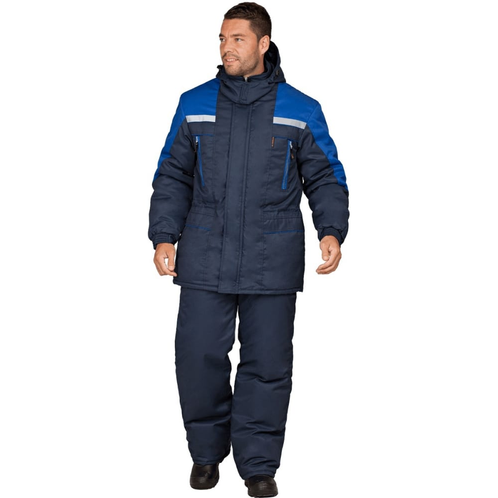 Утеплённый костюм гк спецобъединение спец темно-синий/василёк, размер 112-116, рост 170-176 кос 611/112/170Рабочие костюмы<br>Тип: мужской брючный ;<br>Ткань: смесовая ;<br>Утеплитель: климафорт ;<br>Max температура: -18 °C;<br>Состав ткани: 53% - хлопок, 47% - полиэфир ;<br>Плотность ткани: 220 г/кв.м;<br>Размер: 56-58 ;<br>Рост: 170-176 см;<br>Пропитка: водоотталкивающая ;<br>Капюшон: есть ;<br>Тип застежки: молния ;<br>Цвет: темно-синий/васильковый ;<br>ГОСТ\ТУ: ГОСТ Р 12.4.236-2011 ;<br>Вес: 2.5 кг;<br>Международный размер: XXXL (56-58) ;<br>Сигнальный: нет ;<br>Светоотражающие элементы: есть ;<br>Единиц в упаковке: 1 шт.;<br>Защитные свойства: от пониженных температур ;